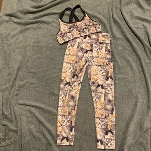 Justice Active Wear outfit Kitten print